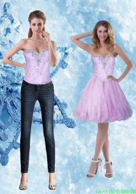 Luxurious Beading and Appliques Sweetheart Detachable  Prom Dress for 2015