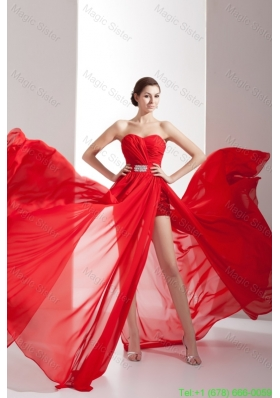 Popular Red Sweetheart Chiffon Celebrity Dress with Beading