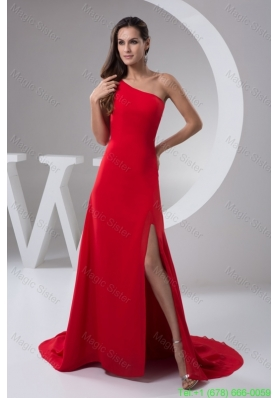 Red Brush Train Celebrity  Dress with One Shoulder and High Slit