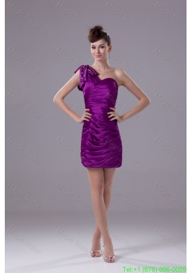 Ruched and Beaded Mini Eggplant Purple Prom Dresses with One Shoulder