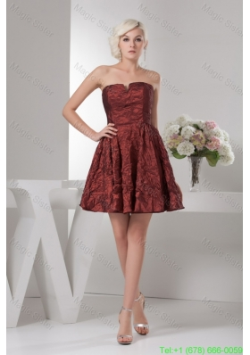 A-line Burgundy Mini-length Prom Dress Special Fabric Slot Neckline