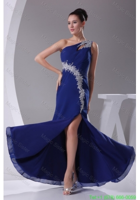 Appliques One Shoulder Royal Blue Slitted Prom Dress for Ladies