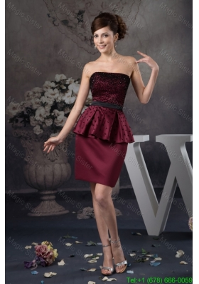 Beaded Mini-length Prom Celebrity Dress in Wine Red 2016