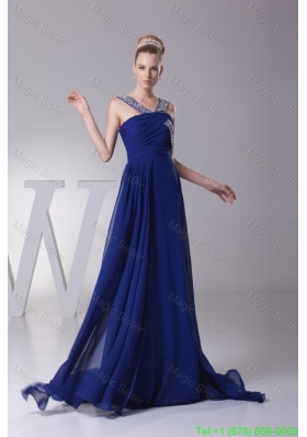 Beading and Ruching Chiffon Prom Dresses with Sweep Train