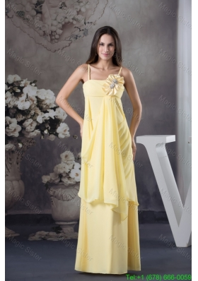 Sexy Spaghetti Straps Light Yellow Prom Gown with Handmade Flower