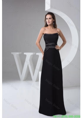 Strapless Floor-length Black Chiffon Prom formal Dress for Cheap