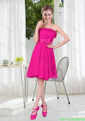 Summer A Line Strapless Short Bridesmaid Dresses with Bowknot