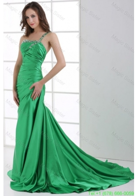 A-line Green One Shoulder Beading and Ruche Sweep Train Evening Dress