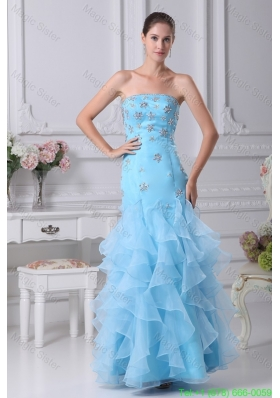 Aqua Blue Ankle-length Strapless Ruffled Prom Dress with Beading
