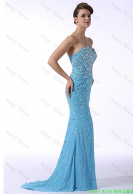 Aqua Blue Mermaid Sweetheart Brush Train Prom Dress with Beading