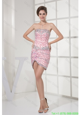 Beaded White Mini-length Prom Homecoming Dress with Red Polka Dots
