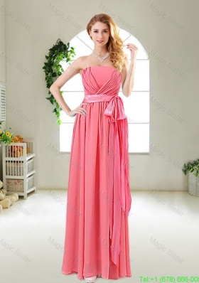 Beautiful Strapless Watermelon Red Holiday Dresses with Sash