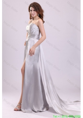 Column Beading and Ruching High Slit One Shoulder Watteau Train Evening Dress