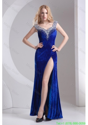 Column Blue Straps Beading High Slit Special Fabric Evening Dress