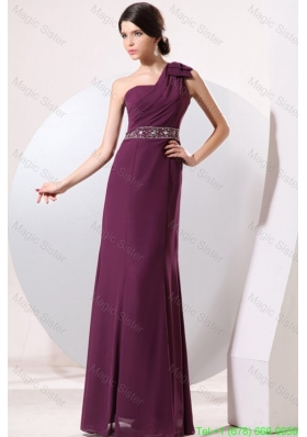 Column One Shoulder Floor-length Beading and Bowknot Holiday Dress