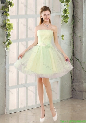 Custom Made A Line Strapless Tulle Holiday Dresses with Belt