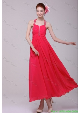 Empire Halter Top Neck Red Beading Ankle-length Holiday Dress