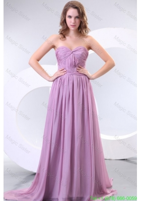 Empire Sweetheart Lilac Chiffon Ruche Holiday Dress with Watteau Train
