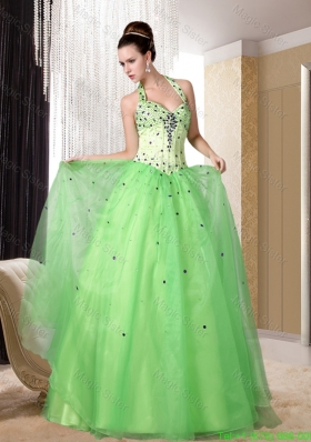 Nice Straps Organza Beading Empire Prom Dress in Light Yellow