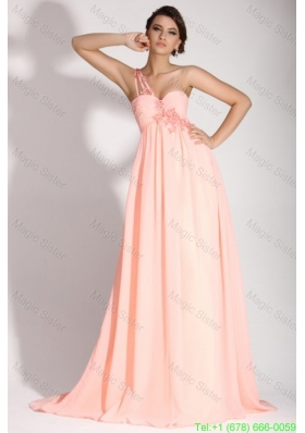 Baby Pink Empire One Shoulder Appliques and Ruching Holiday Dress