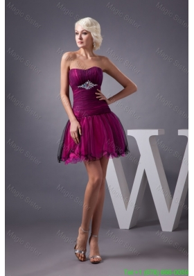 Beaded and Ruched Tulle Prom Dresses in Black and Hot Pink