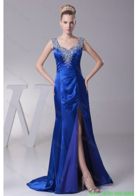 Beading Wide Straps Sweep Train Evening Dresses with High Slit