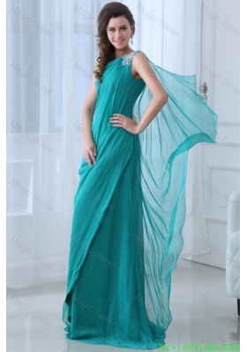 Column Turquoise One Shoulder Beading and Ruching Holiday Dress