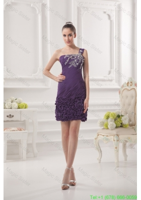 Dark Purple One Shoulder Holiday Dress with Beading and Ruffles