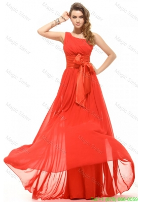 Empire Orange Red One Shoulder Bow Ruching Chiffon Holiday Dress
