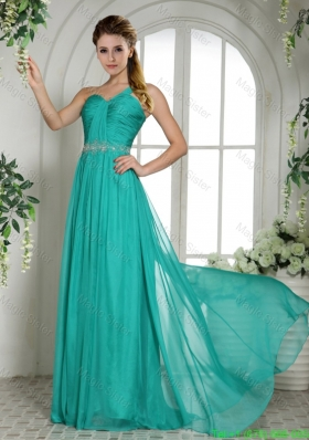 One Shoulder Turquoise Chiffon Brush Train Holiday Dress With Ruching and Beading