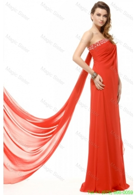 Orange Red Strapless Beading and Ruching Chiffon Holiday Dress