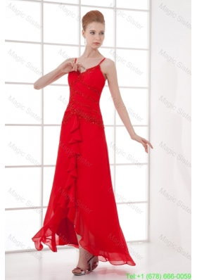 Spaghetti Straps Tea-length Chiffon Red Dresses for Holiday