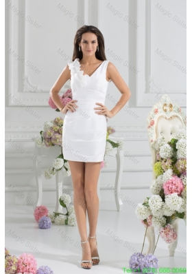 White Column V-neck Hand Made Flowers Mini-length Holiday Dress