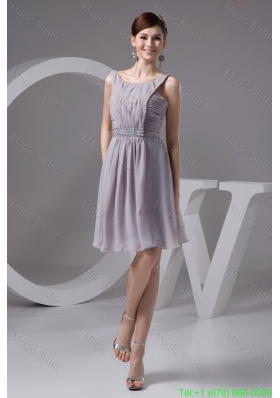 2016 Grey Scoop Chiffon Graduation Dresses with Ruching and Beading