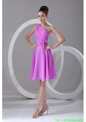A-line One Shoulder Lilac Chiffon Knee-length Homecoming Dress