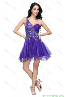 A-line Purple One Shoulder Beading Tulle Prom Dress