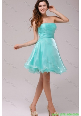 A-line Strapless Aqua Blue Organza Ruching Homecoming Dress