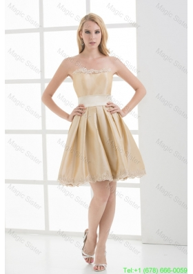 A-line Strapless Sleeveless Embroidery Champange Homecoming Dress