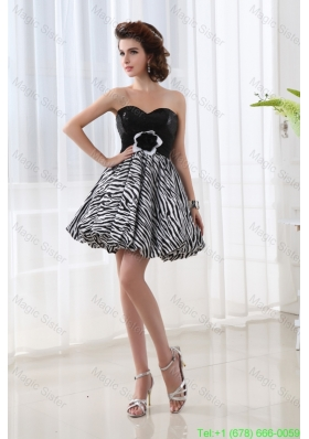 A-line Sweetheart Sleeveless Mini-length Homecoming Dress with Hand Made Flower