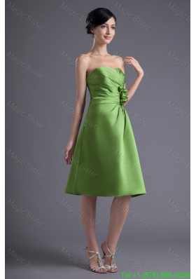 A Line Sweetheart Spring Green Ruching Hand Made Flower Prom Dress