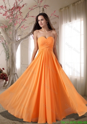 Affordable Sweetheart Ruching Empire Holiday Dress in Orange