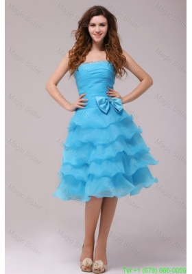 Baby Blue Princess Strapless Ruffled Layers Bow Prom Dress