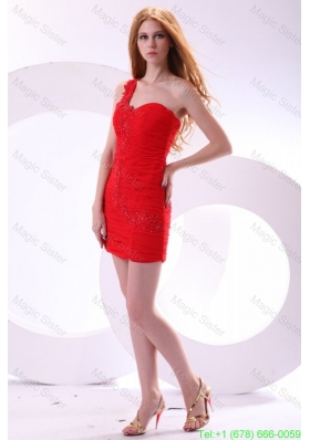Cheap Column One Shoulder Chiffon Appliques Mini-length Red Homecoming Dress