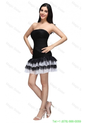 Column Black Strapless Ruching Ruffled Layers Mini-length Homecoming Dress