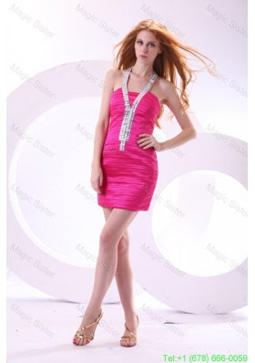 Column Halter Hot Pink Ruching and Beading Mini-length Homecoming Dress