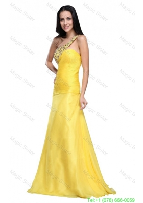 Column One Shoulder Light Yellow Beading Ruching Chiffon Prom Dress