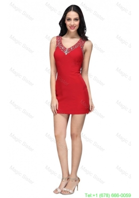 Column Wine Red Beading V-neck Mini-length Chiffon Homecoming Dress