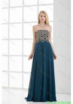 Empire Floor-length Beading Navy Blue Dress for Homecoming