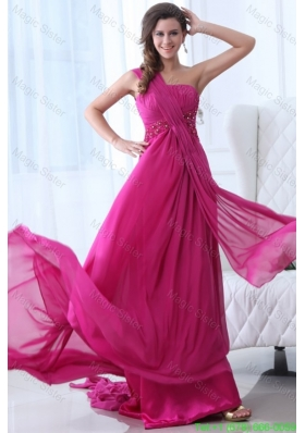 Empire Fuchsia Beading Ruching One Shoulder Prom Dress