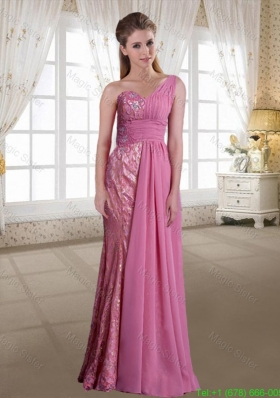 Exclusive Rose Pink Chiffon One Shoulder Column Prom Dress with Floor Length and Beading
